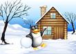 A penguin outside the house