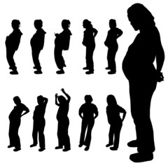 pregnancy woman vector silhouette