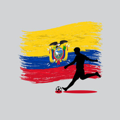 Soccer Player action with Republic of Ecuador flag on background