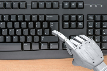 Robot hand using a keyboard