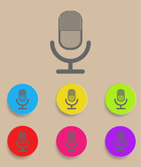 retro microphone icon with color variations, vector