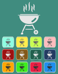 barbecue grill icon Illustration with Color Variations (Vector)