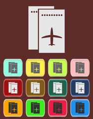 Airfare icon Illustration with Color Variations (Vector)