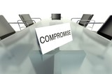 Compromise, business table card in office poster