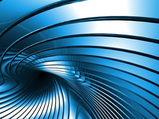 Blue metal abstract architectural wallpaper