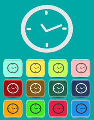 Watch. Vector clock icon in flat style