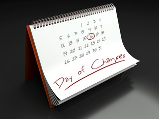 Day of changes important, calendar concept