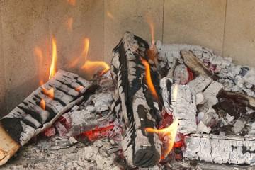 Brennende Holzscheite im Kamin
