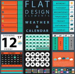 set of components featuring design weather and calendar