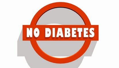 no diabetes text on stop road sign