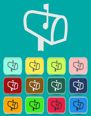 Mailbox with letters icon with color variations, vector