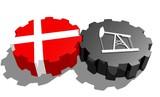 danmark national flag on gear and 3d derrick model near poster