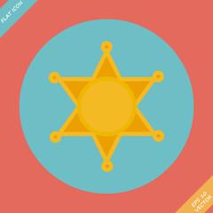 Sheriff star icon - vector illustration. Flat design element