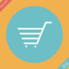 Shopping cart sign - vector illustration. Flat design element
