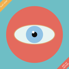 Eye icon - vector illustration. Flat design element