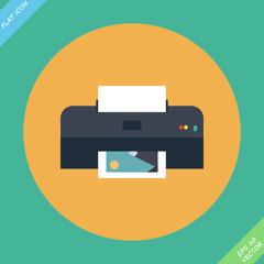 Vector Printer Icon - vector illustration. Flat design element