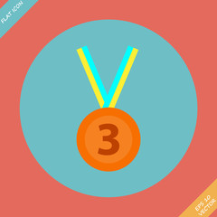 3rd Position Bronze Medal Icon - vector illustration. Flat