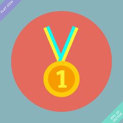 1st Position Gold Medal Icon - vector illustration. Flat