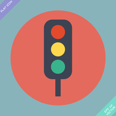 Traffic lights icon - vector illustration. Flat design element