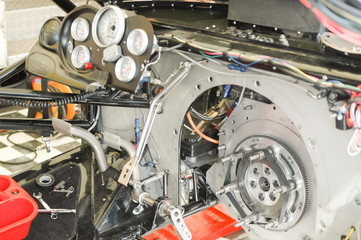 powerful race car interior closeup