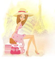 beautiful tourist travels around the world
