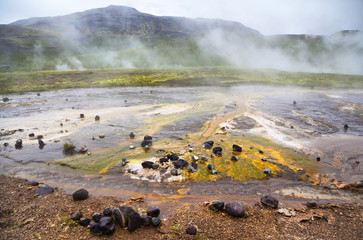 mineral depositions in geothermal area Geysir