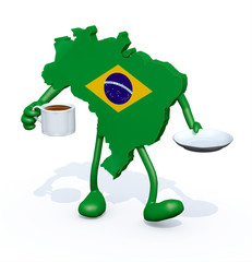 brasilian map with arms, legs with cup of coffee on hand