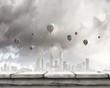 Aerostats in sky