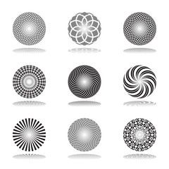 Design elements set.Patterns in circle shape. Abstract icons.