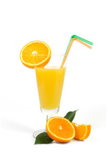 Glass of fresh orange juice with  tubules isolated