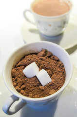 cups chocolat powder and sugar