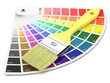 Palette of paint samples and paintbrush