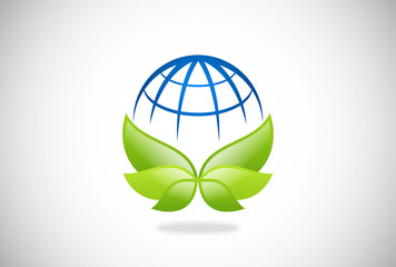 eco nature world vector logo