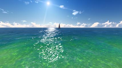 Ocean, sun, beach landscape. №4