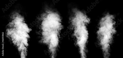 Set of white steam on black background. - 66151862