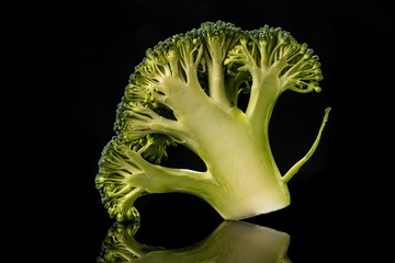 Broccoli on black background
