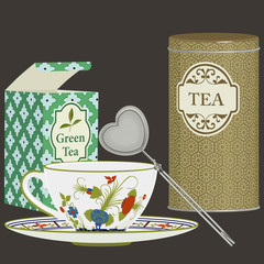 Tea cup with saucer, infuser and tea boxes
