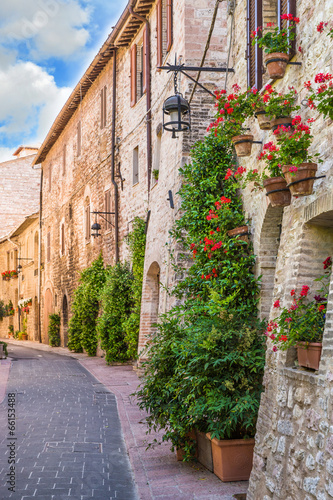Vicolo con fiori, Assisi - 66153488