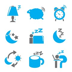 bed time icons, gray and blue color thme