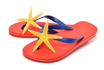 Red flip flops with starfishes