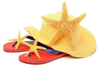 Beach hat, red flip flops with starfishes