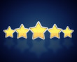 Five golden stars on dark background,Product quality