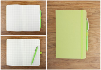 A set of open and closed notebook with pen on the table.