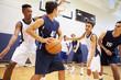Leinwanddruck Bild - Male High School Basketball Team Playing Game