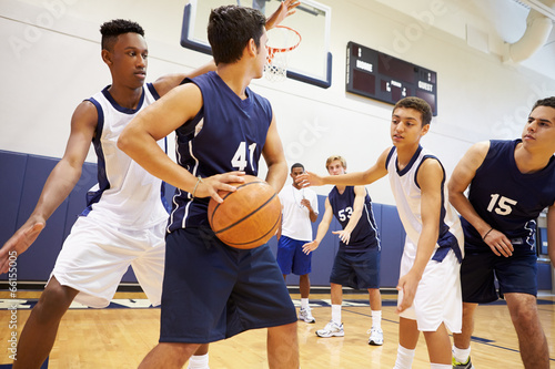 canvas print picture Male High School Basketball Team Playing Game