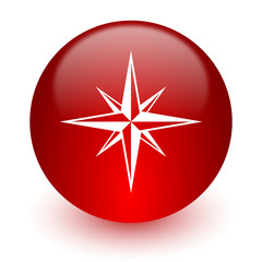 compass red computer icon on white background