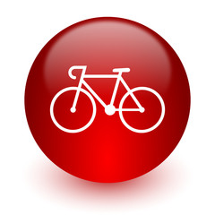 bicycle red computer icon on white background