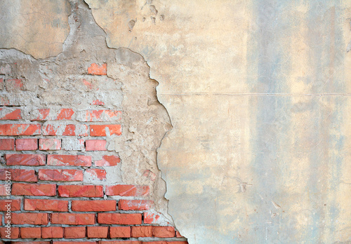 Canvas Historisch geb. Half painted brick wall