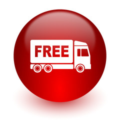 free delivery red computer icon on white background