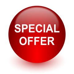 special offer red computer icon on white background